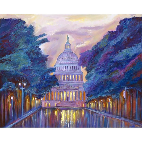 "East Capitol Evening | Washington, DC Art | Original Oil and Acrylic Painting on Canvas by Zachary Sasim | 24"" by 30"" 