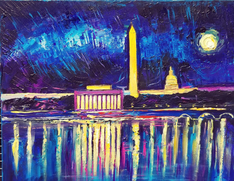 "Night Panorama DC | Washington, DC Art | Original Acrylic on Canvas by Zachary Sasim | 24"" by 30""-Acrylic Painting-Sterling-and-Burke"
