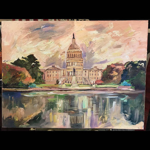 "October Capitol | US Capitol in Washington, DC | Original Oil and Acrylic Painting by Zachary Sasim | 40"" by 30"" 