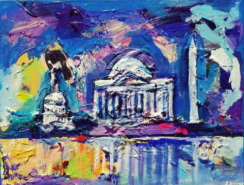 "Small Chunky DC Monuments | Washington, DC Art | Original Acrylic on Canvas by Zachary Sasim | 11"" by 14""-Acrylic Painting-Sterling-and-Burke"
