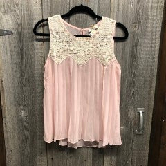 $5 Sale 2300- CREAM PINK LACE TOP