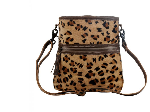Brown and tan leopard hairon bag