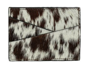 Brown and white cow hide credit card holder