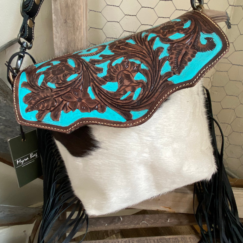 Aqua Hand-Tooled Bag