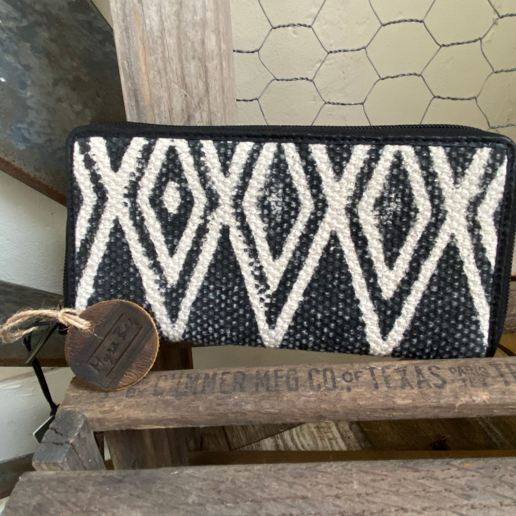 Black and white canvas wallet