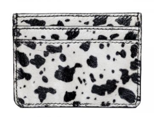Black and white cow hide credit card holder