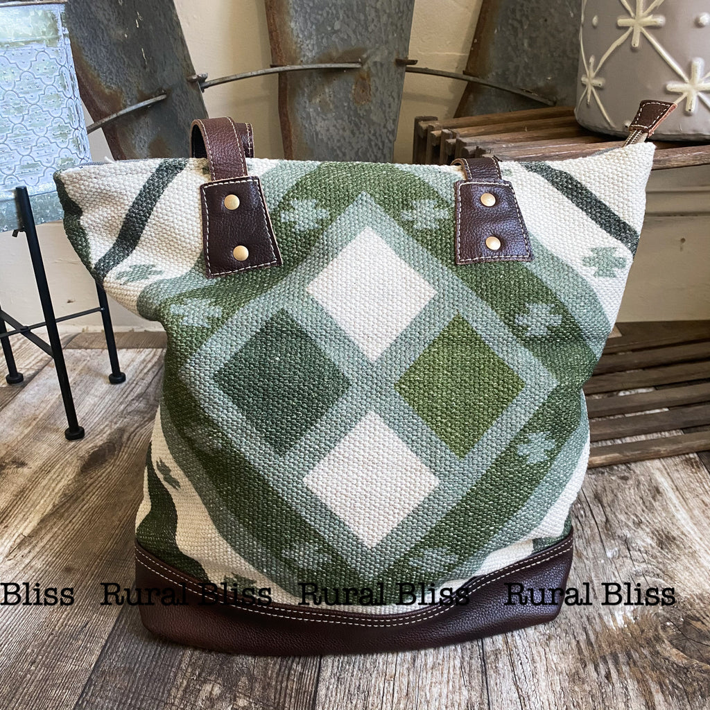 Green and grey canvas bag