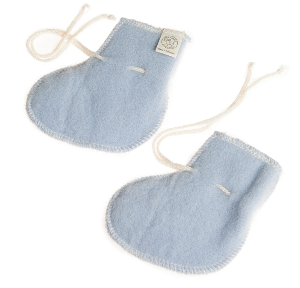 Light Blue LANACare Baby Booties in Organic Merino Wool