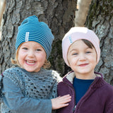 "Geggamoja® Organic Cotton Cap ""Topline"", sizing Baby to Grown-up, Colors China Blue or Mellow Pink"