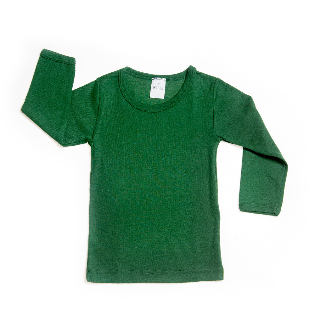 HOCOSA Children's Long Underwear Shirt with Long Sleeves in Organic Wool/Silk Blend