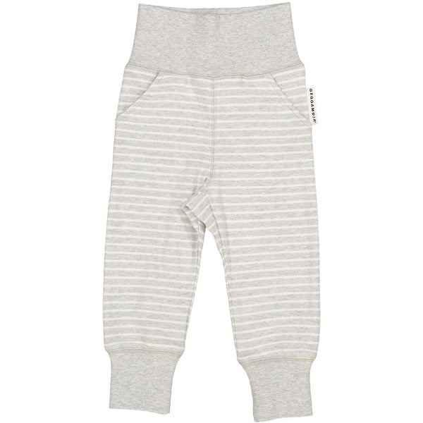 x FACTORY OUTLET Geggamoja® Organic Cotton Baby/Toddler Trousers - Classic Light Grey Stripe