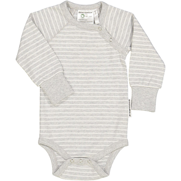 x FACTORY OUTLET Geggamoja® Organic Cotton Body/Snap-Bottom Shirt - Classic Light Grey Stripe