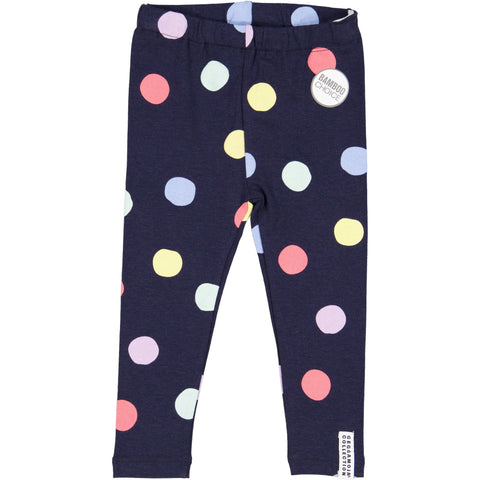 Geggamoja® Bamboo/Organic Cotton Leggings - NAVY MULTI-DOT, ages 3 mo - 10 yr