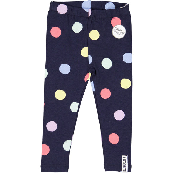 z FACTORY OUTLET Geggamoja® Bamboo/Organic Cotton Leggings - NAVY MULTI-DOT