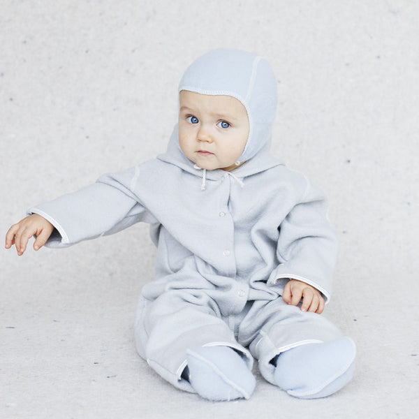 Light Blue LANACare Baby Suit (Overall) in Organic Merino Wool
