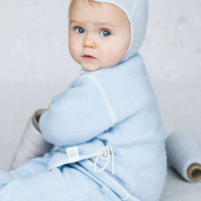 Light Blue LANACare Baby Sweater in Organic Merino Wool