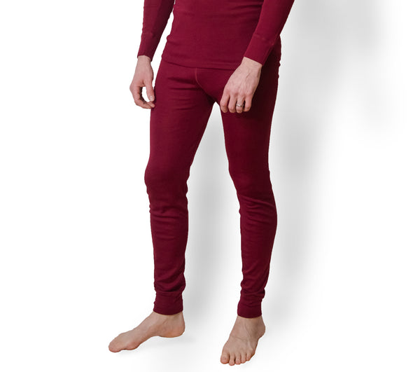 Hocosa Men or Women's Organic Wool/Silk Long-Underwear Pants, Blue or Bordeaux