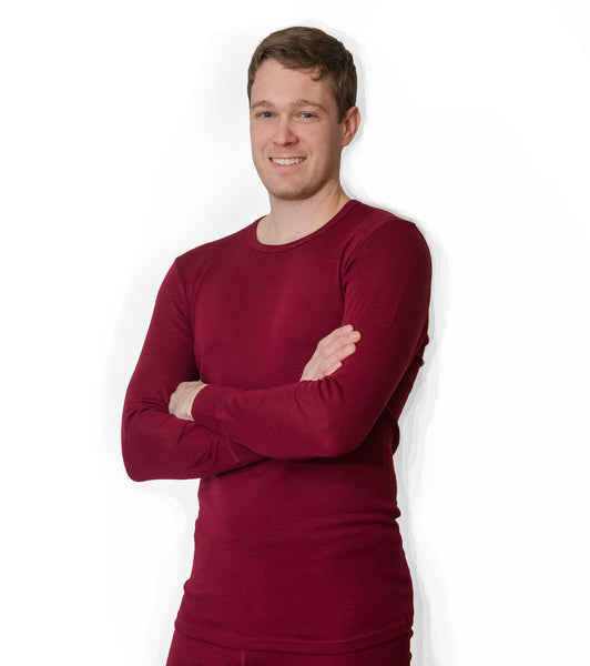 Hocosa Men or Women's Organic Wool/Silk Long-Underwear Shirt, with Long Sleeves, Round-Neck, Colors