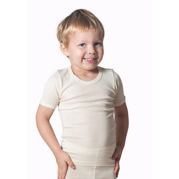 xFACTORY OUTLET Hocosa Kids' Organic Wool Undershirt with Short Sleeves