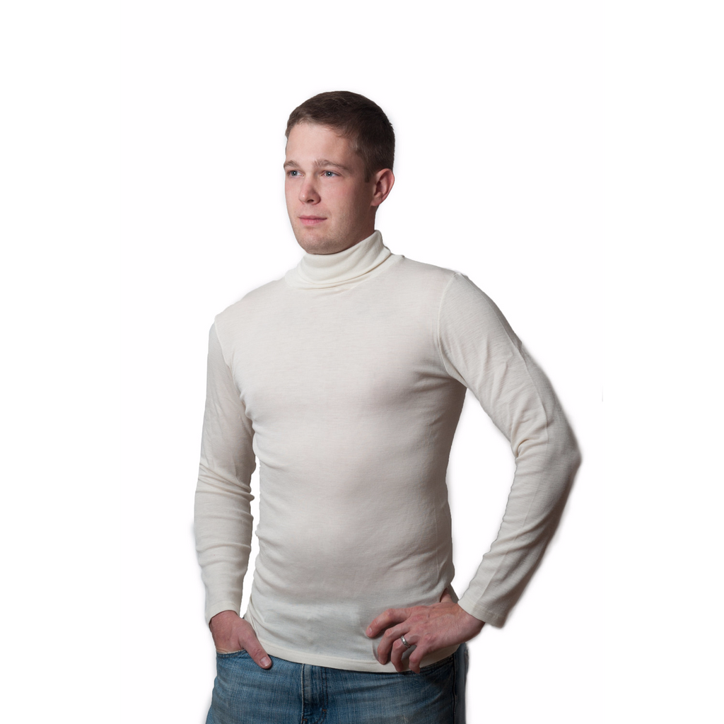 FACTORY OUTLET Hocosa Turtle-Neck Undershirt in Organic Wool/Silk Blend - Unisex