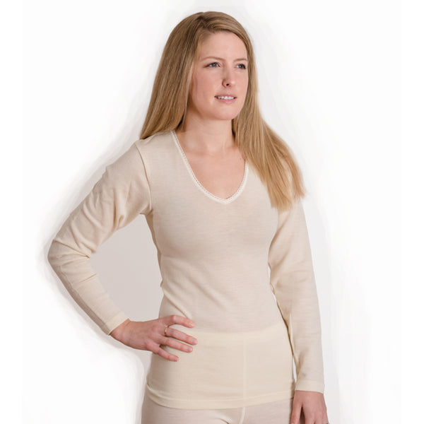 z FACTORY OUTLET Hocosa Organic Merino Wool Women's Long-Sleeve V-Neck Undershirt