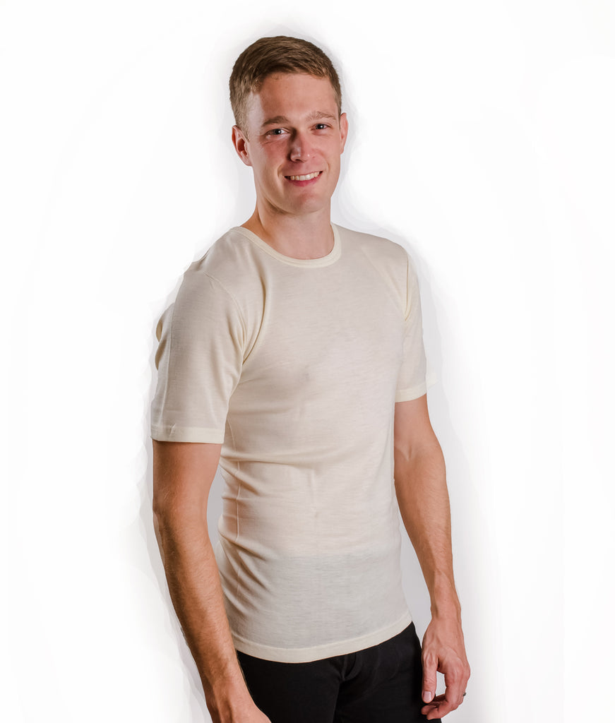 "HOCOSA ""Sport"" Organic Merino Wool/Silk Short-Sleeve Undershirt for Men or Women"