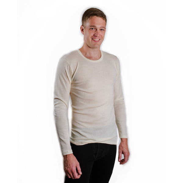 HOCOSA Men or Women's Organic Wool Long-Sleeve Underwear Shirt, Round-Neck