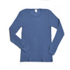 Hocosa Organic Wool/Silk Unisex Long-Underwear Shirt with Long Sleeves, Denim Blue