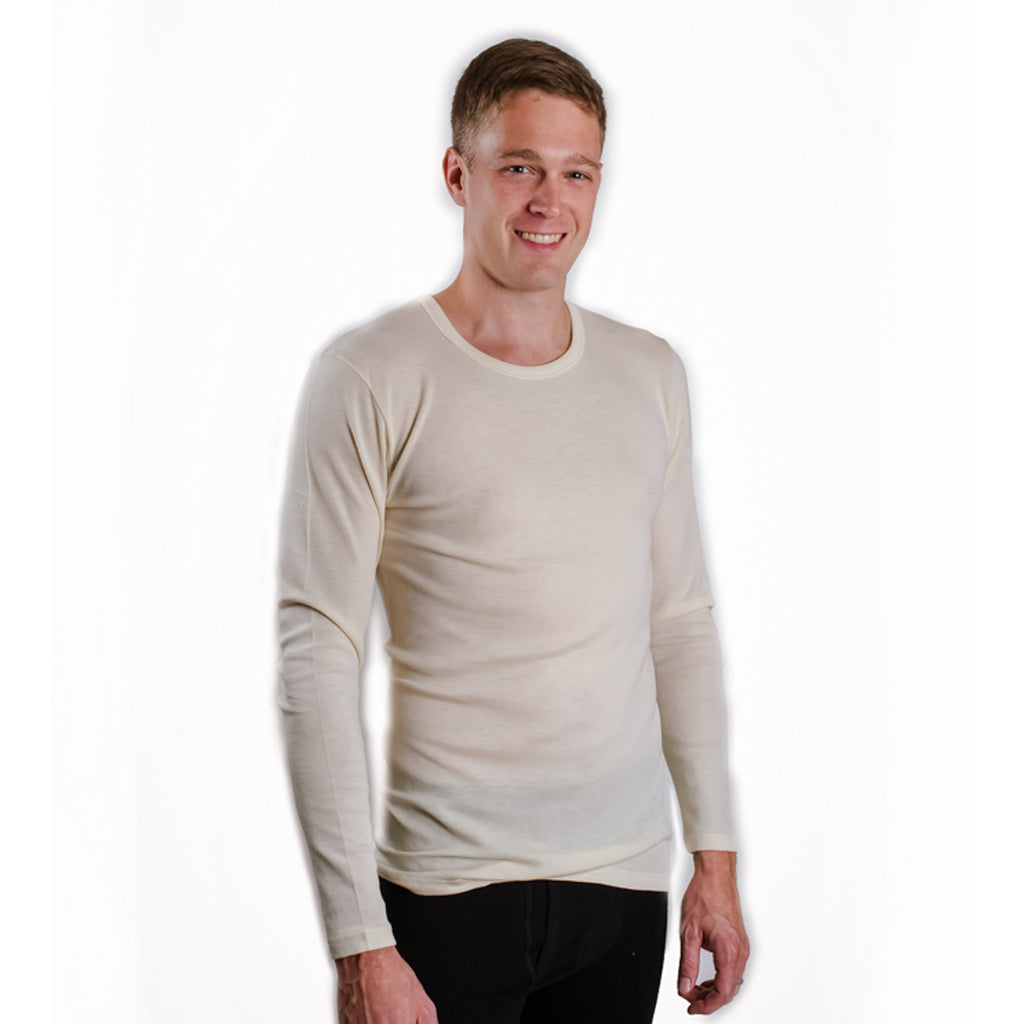 LIMITED QUANTITY Hocosa Long-Sleeve Long-Underwear Shirt in Organic Wool, Round-Neck, XXL