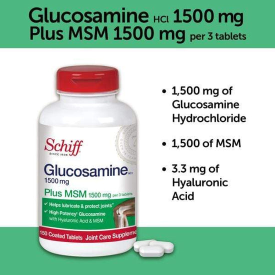 Schiff Glucosamine Tablets Plus MSM and Hyaluronic Acid 1500mg 150 Ct