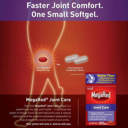 Image of MegaRed Joint Care, Omega 3 Krill Oil Hyaluronic Acid & Astaxanthin Softgels 30 Ct