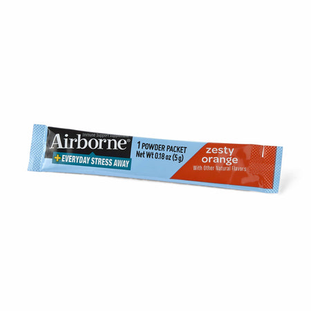 Airborne Plus Everyday Stress Away Powder Packet Zesty Orange 16 Ct