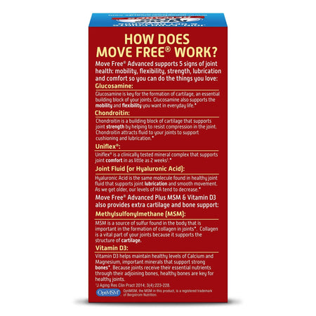Move Free Advanced Plus MSM & Vitamin D3 Glucosamine Chondroitin Joint Supplements