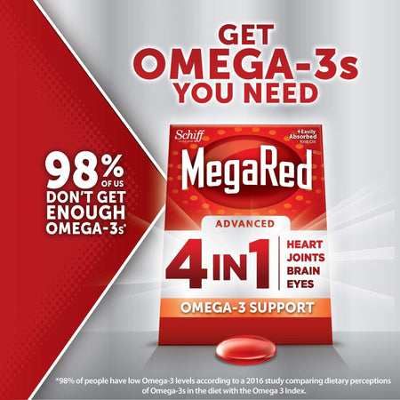 MegaRed Advanced 4in1 Concentrated Omega-3 Fish & Krill Oil 900mg 40Ct