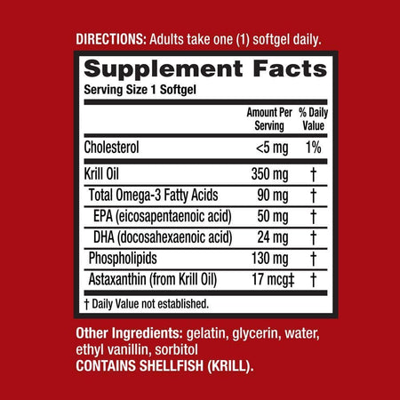 MegaRed 350mg Superior Omega-3 Krill Oil Softgels