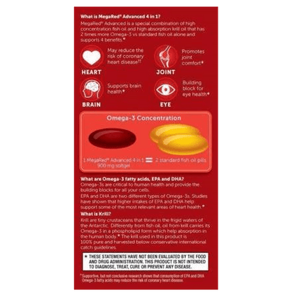 Image of MegaRed Advanced 4in1 Concentrated Omega-3 Fish & Krill Oil 900mg 40Ct