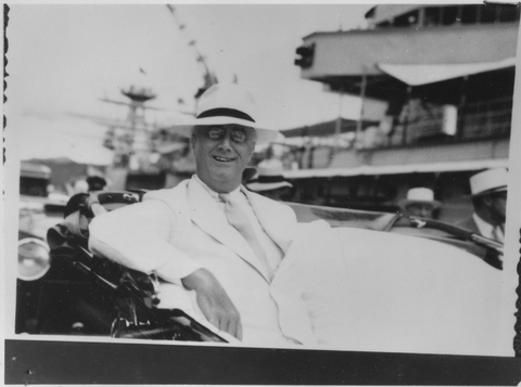 President Theodore 'Teddy' Roosevelt wearing a Panama hat at the Panama Canal, 1906
