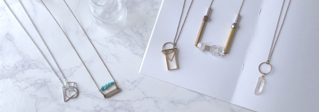 InfinEight Jewelry brass and silver geometric necklaces