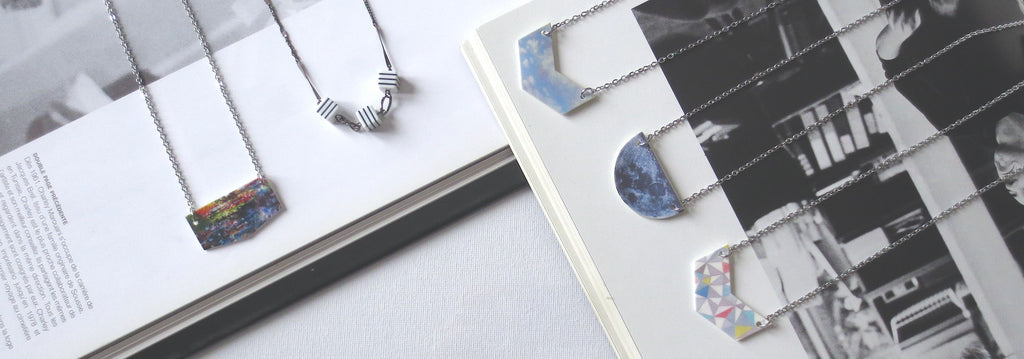 InfinEight Jewelry resin necklaces: abstract garden print necklace, sky necklace, moon necklace, geometric print necklace, collier lune, collier marinière