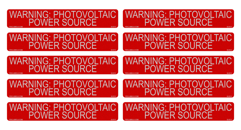 10 Pack Labels - Warning Photovoltaic Power Source