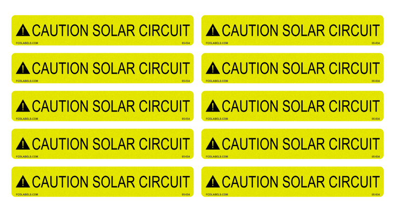 10 Pack Labels - Caution Solar Circuit