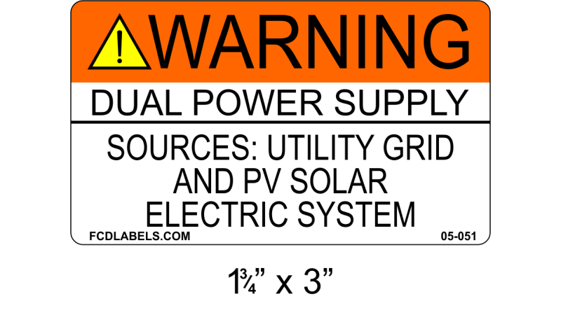 "ANSI 1.75"" x 3"" 