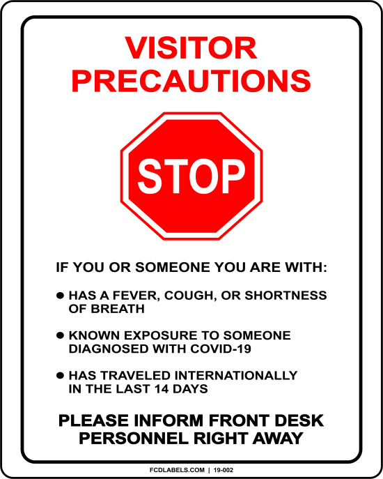 COVID-19 | VISITOR PRECAUTIONS SIGN