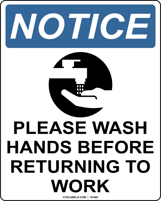 COVID-19 | PLEASE WASH HANDS BEFORE RETURNING TO WORK