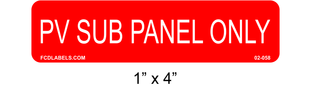 Solar Labels | PV Sub Panel Only