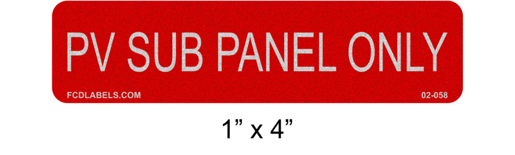 Reflective Solar Labels | PV Sub Panel Only