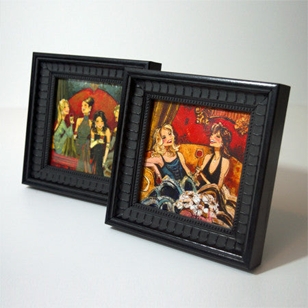 "Black Ornamental Frame with 5"" x 5"" Women and Wine Print"