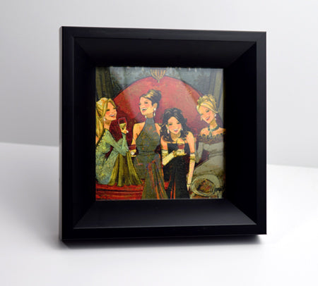 "Black Angled Frame with 5"" x 5"" Women and Wine Print"