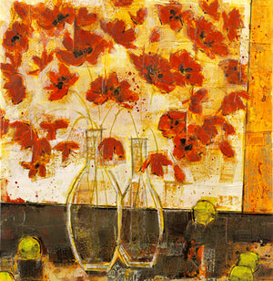 "Poppies - ""Poppies and Clear Vase with Limes#2"" Edition"