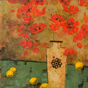 "Poppies - ""Poppies and White Vase with Limes"" Edition"